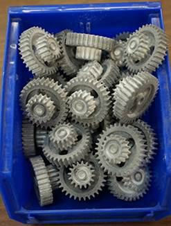 3D Printed plastics parts after a wet blast tumbling process
