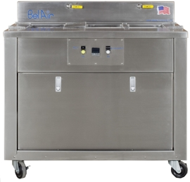 Mobile ultrasonic console, includes set up display and manual operator lift