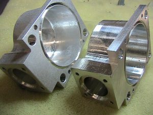 Aluminum aerospace housing after and before