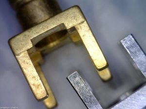 Brass electrical connector finished