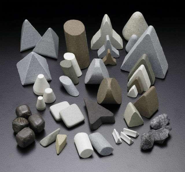 Ceramic media used for finishing parts