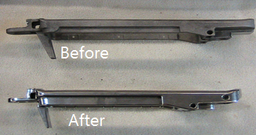Steel shotgun receiver before and after