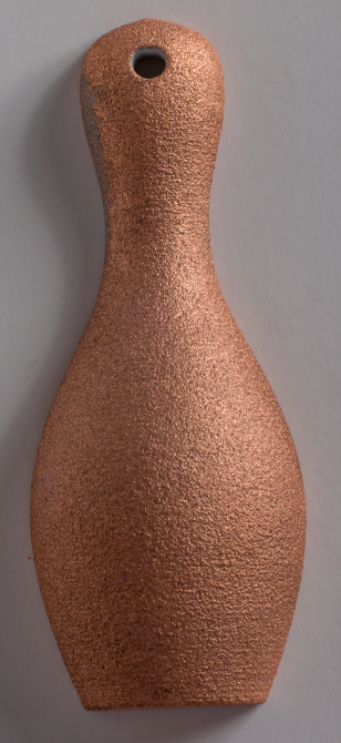 3D printed plastic part, copper plated, raw form